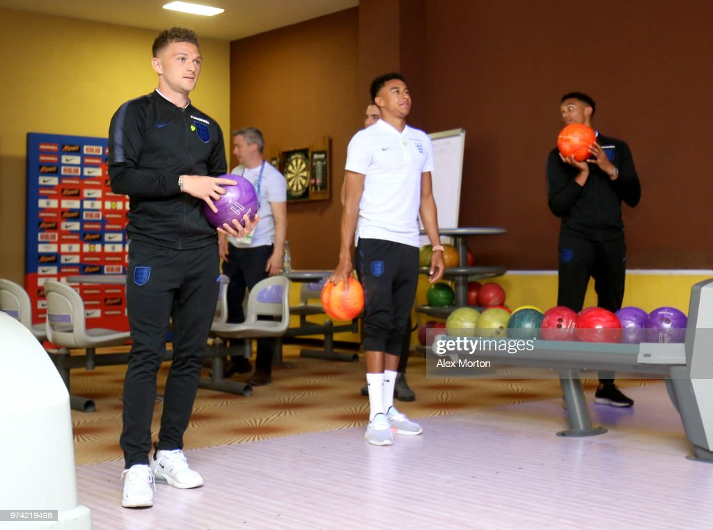 Kieran Trippier of England and Jesse Lingard of England take part in some bowling during the England media access at Spartak Zelenogorsk Stadium ahead of the FIFA World Cup 2018 on June 14, 2018 in Saint Petersburg, Russia.