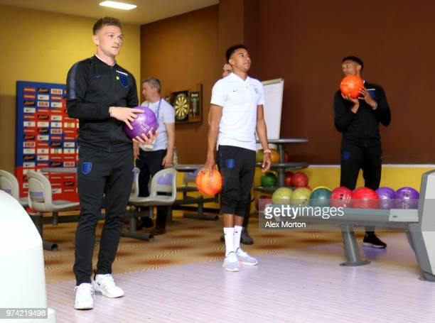 Kieran Trippier of England and Jesse Lingard of England take part in some bowling during the England media access at Spartak Zelenogorsk Stadium...