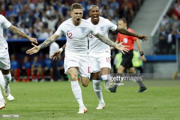 Kieran Trippier of England Ashley Young of England during the 2018 FIFA World Cup Russia Semi Final match between Croatia and England at the Luzhniki...
