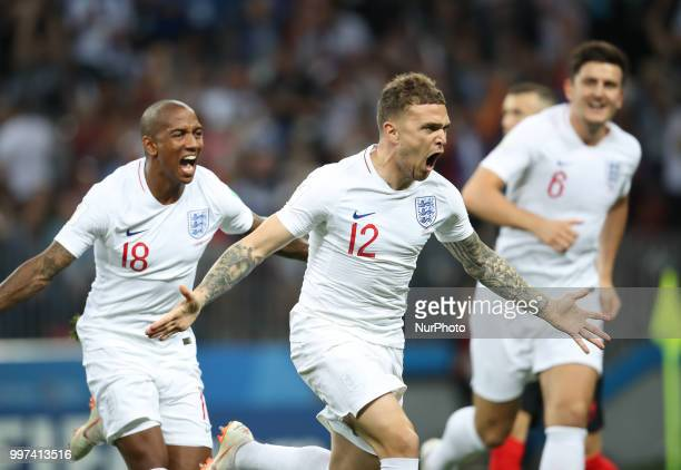 Kieran Trippier of England celebrates after his goal with Ashley Young during the 2018 FIFA World Cup Russia Semi Final match between England and...