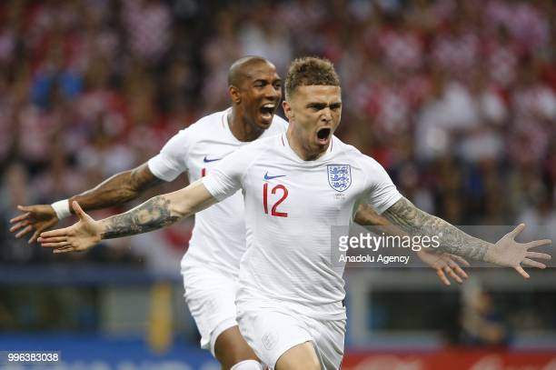 Kieran Trippier of England celebrates after scoring a goal during the 2018 FIFA World Cup Russia semi final match between Croatia and England at the...
