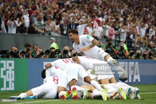 Kieran Trippier of England celebrates after scoring a goal to make it 10 during the 2018 FIFA World Cup Russia Semi Final match between England and...