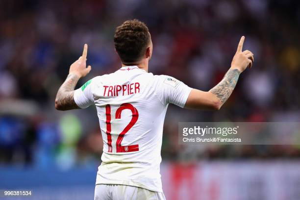 Kieran Trippier of England celebrates after scoring his sides first goal during the 2018 FIFA World Cup Russia Semi Final match between England and...