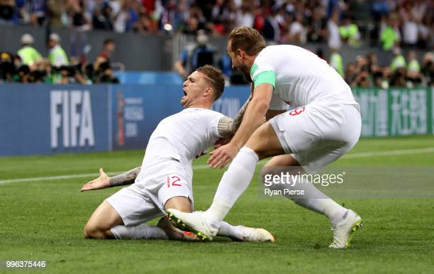 Kieran Trippier of England celebrates after scoring his team's first goal during the 2018 FIFA World Cup Russia Semi Final match between England and...
