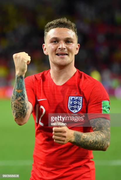 Kieran Trippier of England celebrates following his sides victory in the 2018 FIFA World Cup Russia Round of 16 match between Colombia and England at...