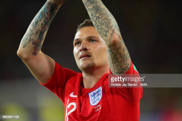 Kieran Trippier of England celebrates his team's victory in a penalty shootout at the end of extra time during the 2018 FIFA World Cup Russia Round...
