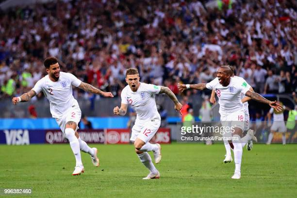 Kieran Trippier of England celebrates scoring his sides first goal during the 2018 FIFA World Cup Russia Semi Final match between England and Croatia...