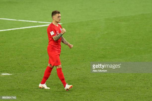 Kieran Trippier of England celebrates scoring his team's fourth penalty in the penalty shoot out during the 2018 FIFA World Cup Russia Round of 16...