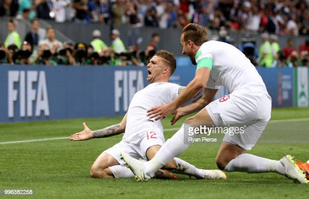 Kieran Trippier of England celebrates with team mate Harry Kane after scoring his team's first goal during the 2018 FIFA World Cup Russia Semi Final...