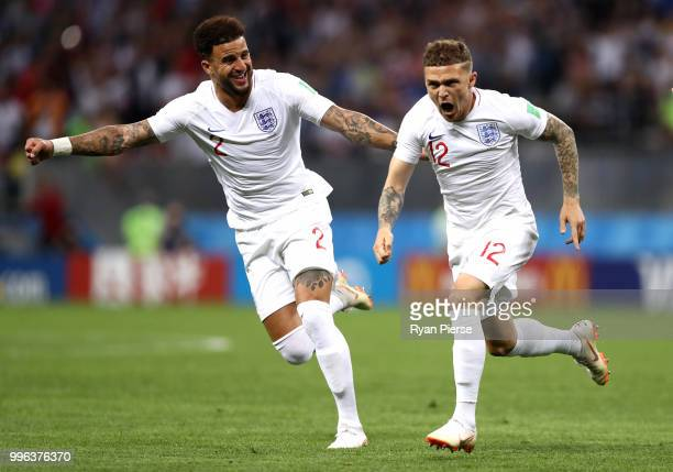 Kieran Trippier of England celebrates with team mate Kyle Walker after scoring his team's first goal during the 2018 FIFA World Cup Russia Semi Final...