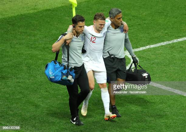Kieran Trippier of England leaves the pitch injured during the 2018 FIFA World Cup Russia Semi Final match between England and Croatia at Luzhniki...