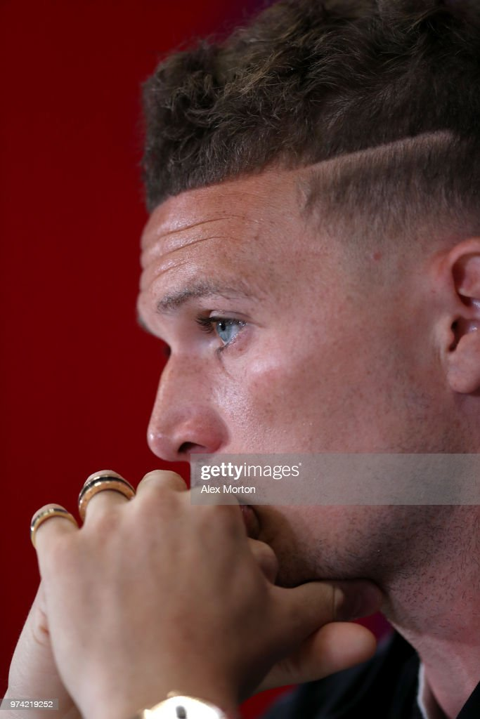 Kieran Trippier of England looks on during a press conference during the England media access at Spartak Zelenogorsk Stadium ahead of the FIFA World Cup 2018 on June 14, 2018 in Saint Petersburg, Russia.