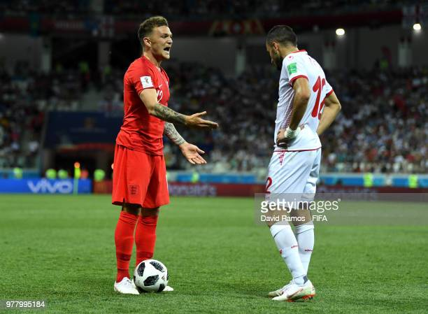 Kieran Trippier of England reacts to Ali Maaloul of Tunisia during the 2018 FIFA World Cup Russia group G match between Tunisia and England at...