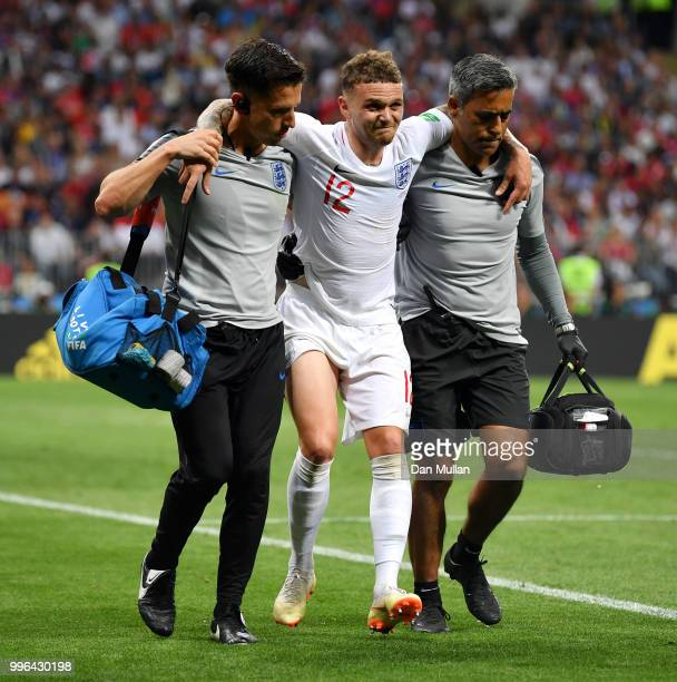 Kieran Trippier of England receives medical treatment during the 2018 FIFA World Cup Russia Semi Final match between England and Croatia at Luzhniki...
