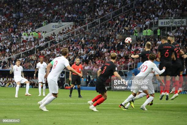 Kieran Trippier of England scores a goal to make it 10 during the 2018 FIFA World Cup Russia Semi Final match between England and Croatia at Luzhniki...