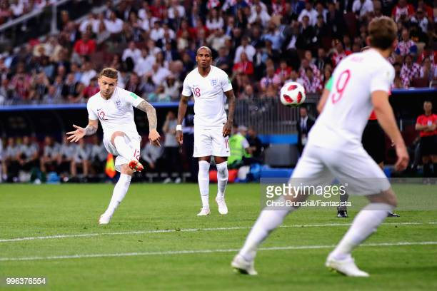 Kieran Trippier of England scores his sides first goal during the 2018 FIFA World Cup Russia Semi Final match between England and Croatia at Luzhniki...