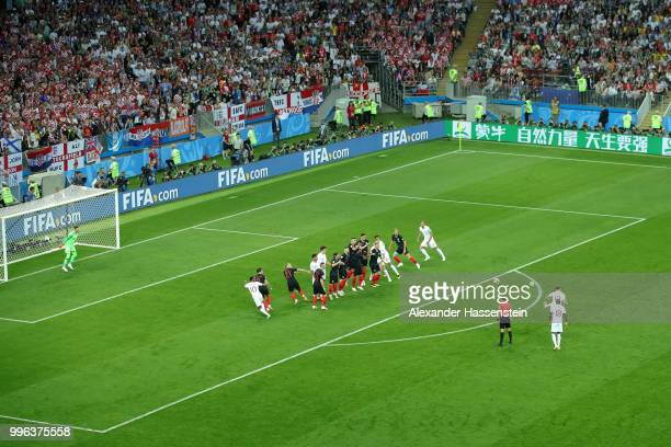 Kieran Trippier of England scores his team's first goal during the 2018 FIFA World Cup Russia Semi Final match between England and Croatia at...