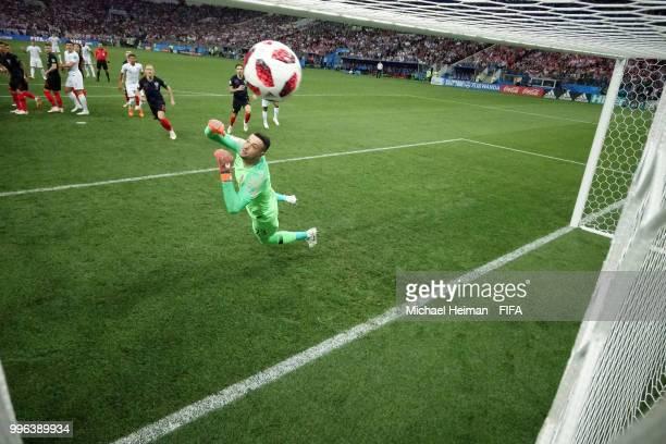 Kieran Trippier of England scores his team's first goal past Danijel Subasic of Croatia during the 2018 FIFA World Cup Russia Semi Final match...