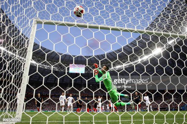 Kieran Trippier of England scores past Danijel Subasic of Croatia his team's first goal during the 2018 FIFA World Cup Russia Semi Final match...