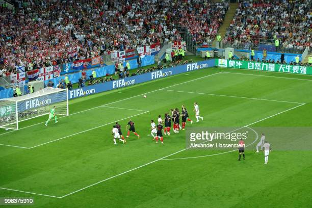 Kieran Trippier of England scores scores his team's first goal during the 2018 FIFA World Cup Russia Semi Final match between England and Croatia at...