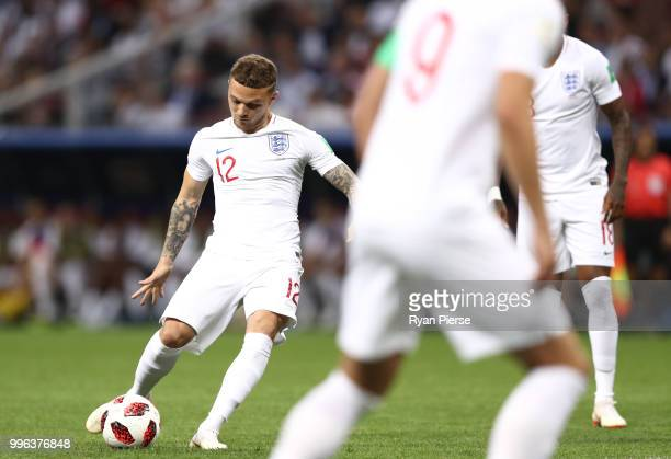 Kieran Trippier of England scores the opening goal from a freekick during the 2018 FIFA World Cup Russia Semi Final match between England and Croatia...