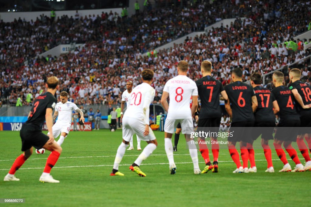 Kieran Trippier (2nd L) of England scores the opening goal from a freekick during the 2018 FIFA World Cup Russia Semi Final match between England and Croatia at Luzhniki Stadium on July 11, 2018 in Moscow, Russia.