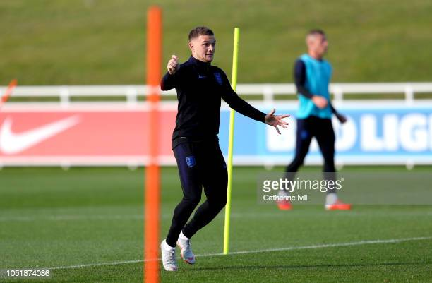 Kieran Trippier of England trains during the England Training Session at St Georges Park on October 11 2018 in BurtonuponTrent England
