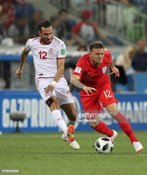 Kieran Trippier of England vies with Ali Maaloul of Tunisia during the 2018 FIFA World Cup Russia group G match between Tunisia and England at...