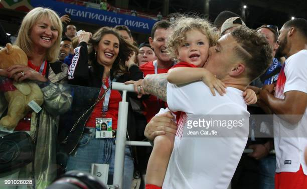 Kieran Trippier of England with his wife Charlotte Trippier and their son Jacob Trippier following the 2018 FIFA World Cup Russia Round of 16 match...