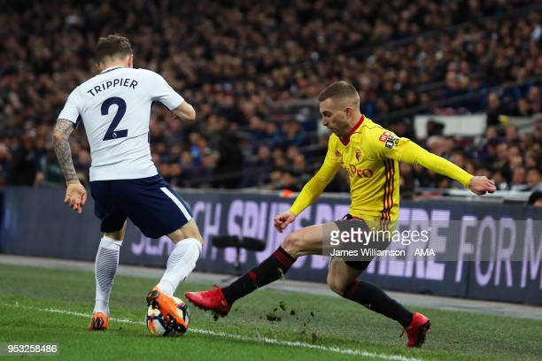 Kieran Trippier of Tottenham and Gerard Deulofeu of Watford during the Premier League match between Tottenham Hotspur and Watford at Wembley Stadium...