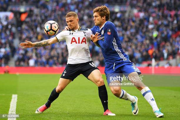 Kieran Trippier of Tottenham Hotspur and Marcos Alonso of Chelsea in action during The Emirates FA Cup SemiFinal between Chelsea and Tottenham...