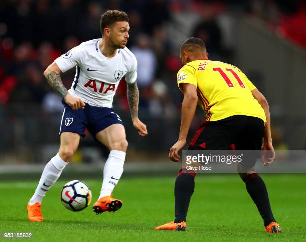 Kieran Trippier of Tottenham Hotspur and Richarlison de Andrade of Watford battle for the ball during the Premier League match between Tottenham...