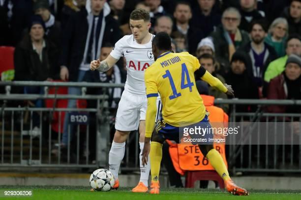 Kieran Trippier of Tottenham Hotspur Blaise Matuidi of Juventus during the UEFA Champions League match between Tottenham Hotspur v Juventus at the...