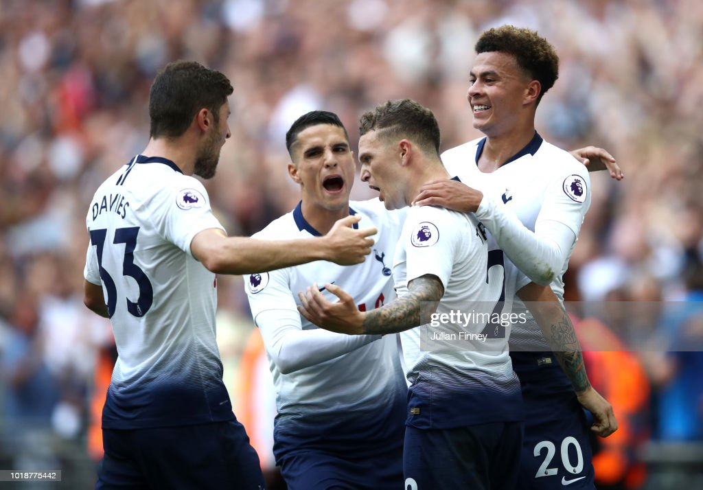 Kieran Trippier of Tottenham Hotspur celebrates scoring his team's second goal with team mates during the Premier League match between Tottenham Hotspur and Fulham FC at Wembley Stadium on August 18, 2018 in London, United Kingdom.