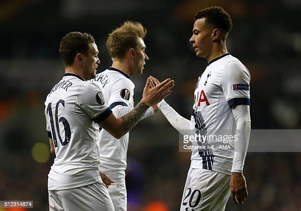 Kieran Trippier of Tottenham Hotspur celebrates with Dele Alli of Tottenham Hotspur after Fiorentina score an own goal to make it 30 during the UEFA...