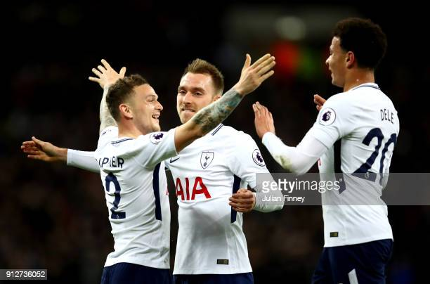 Kieran Trippier of Tottenham Hotspur Christian Eriksen of Tottenham Hotspur and Dele Alli of Tottenham Hotspur celebrate their sides second goal...