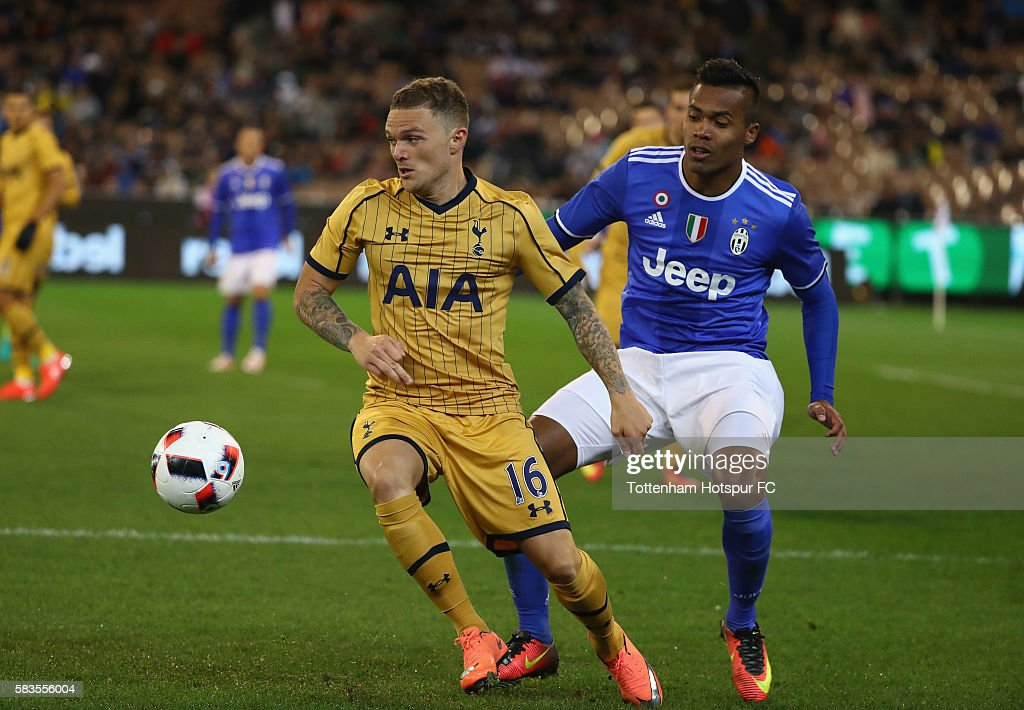 Kieran Trippier of Tottenham Hotspur controls the ball during the 2016 International Champions Cup match between Juventus FC and Tottenham Hotspur at Melbourne Cricket Ground on July 26, 2016 in Melbourne, Australia.