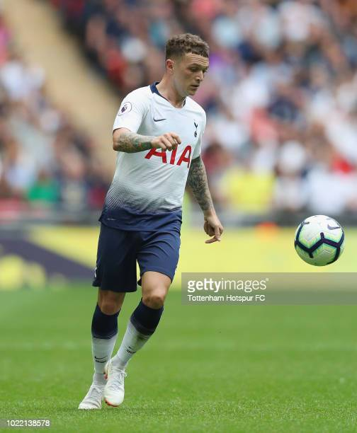 Kieran Trippier of Tottenham Hotspur during the Premier League match between Tottenham Hotspur and Fulham FC at Wembley Stadium on August 18 2018 in...