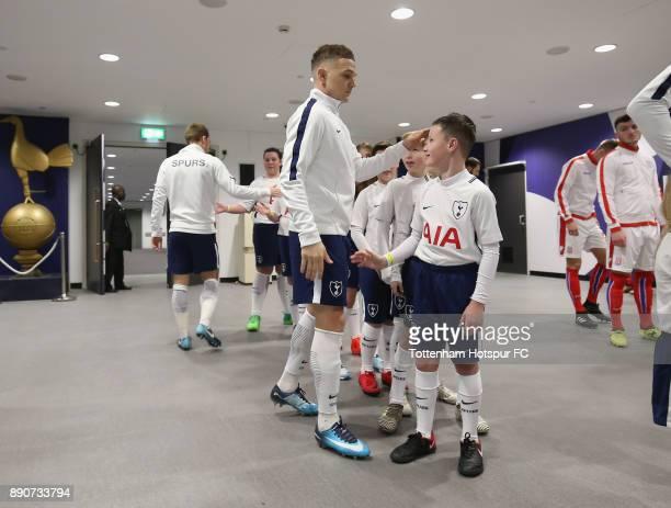 Kieran Trippier of Tottenham Hotspur greets the mascots prior to the Premier League match between Tottenham Hotspur and Stoke City at Wembley Stadium...