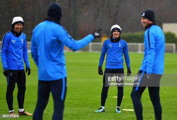 Kieran Trippier of Tottenham Hotspur reacts during a Tottenham Hotspur Training Session as HeungMin Son of Tottenham Hotspur look on on December 11...