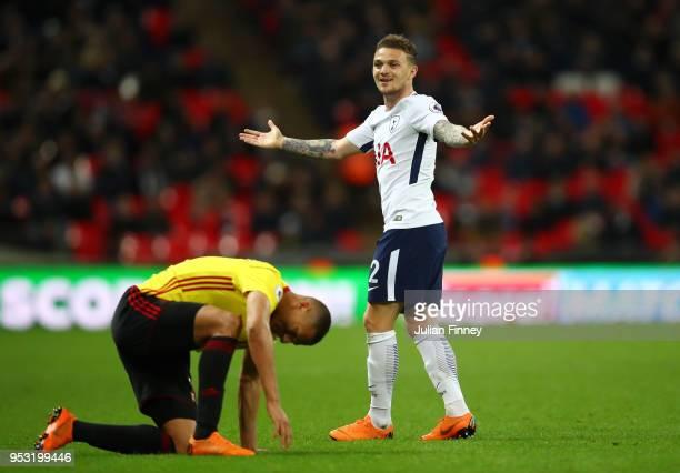 Kieran Trippier of Tottenham Hotspur reacts during the Premier League match between Tottenham Hotspur and Watford at Wembley Stadium on April 30 2018...