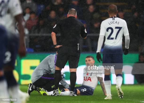 Kieran Trippier of Tottenham Hotspur receives medical treatment during the Premier League match between Crystal Palace and Tottenham Hotspur at...