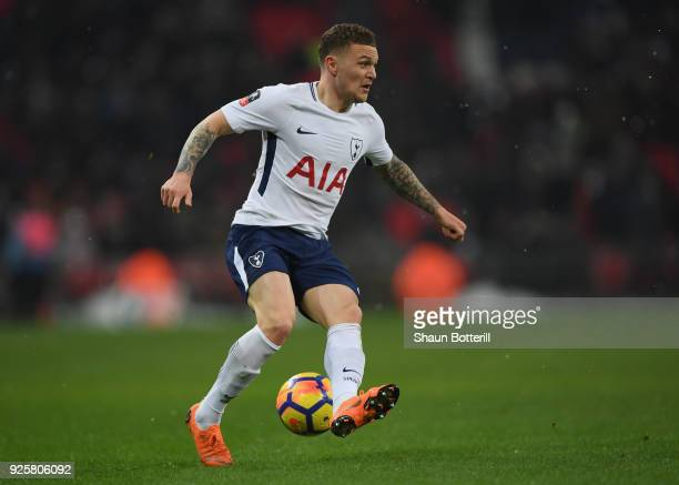 Kieran Trippier of Tottenham Hotspur runs with the ball during the Emirates FA Cup Fifth Round Replay match between Tottenham Hotspur and Rochdaleon...