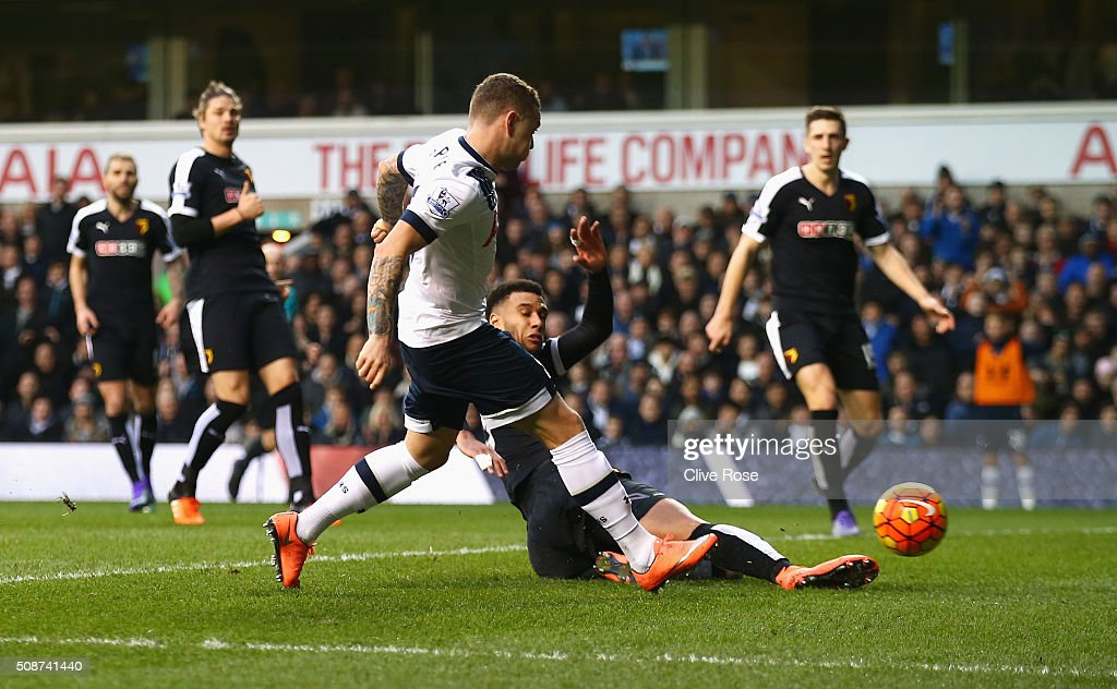 Kieran Trippier of Tottenham Hotspur scores his team's first goal during the Barclays Premier League match between Tottenham Hotspur and Watford at White Hart Lane on February 6, 2016 in London, England.