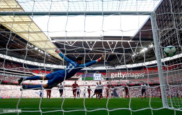 Kieran Trippier of Tottenham Hotspur scores his team's second goal during the Premier League match between Tottenham Hotspur and Fulham FC at Wembley...