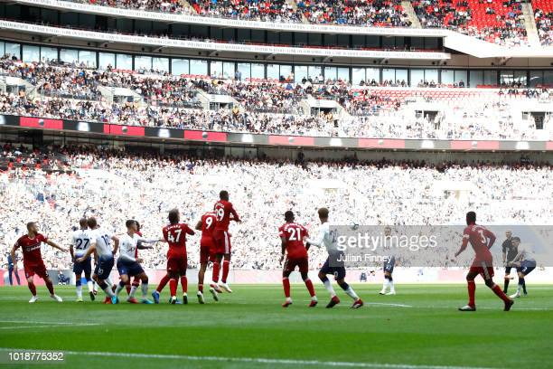 Kieran Trippier of Tottenham Hotspur shoots and scores his side's second goal during the Premier League match between Tottenham Hotspur and Fulham FC...