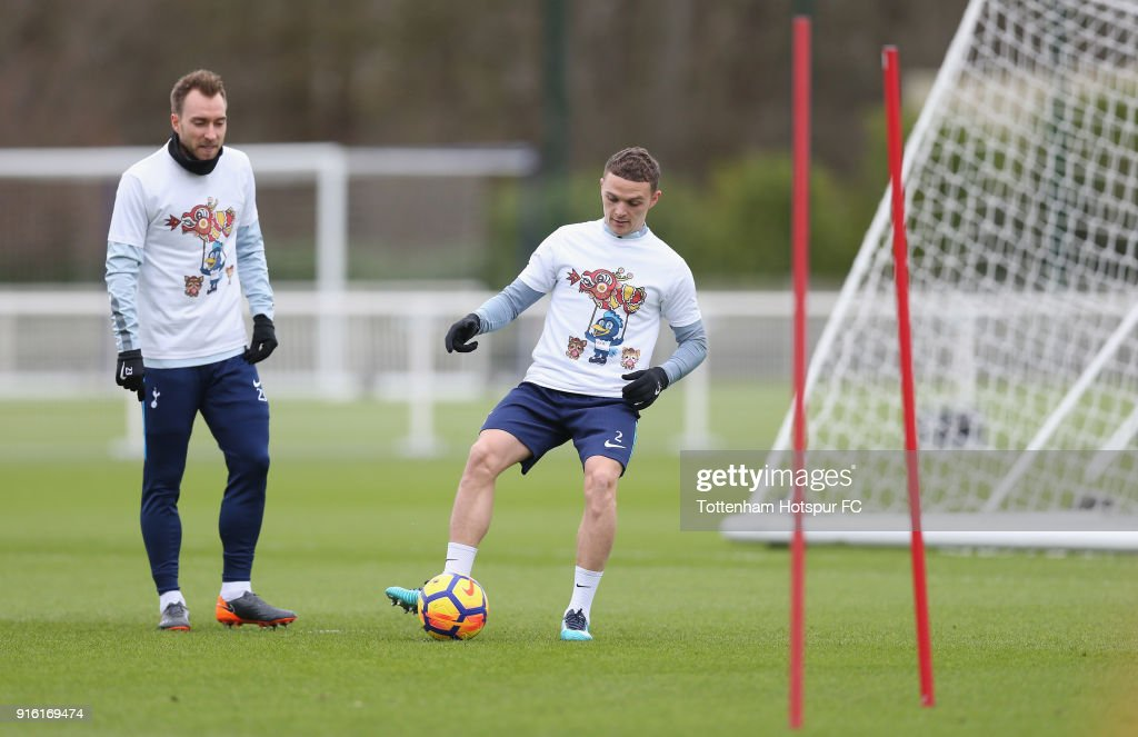Kieran Trippier of Tottenham Hotspur trains in a Chinese New Year t-shirt ahead of the north london derby during the Tottenham Hotspur training session at Tottenham Hotspur Training Centre on February 9, 2018 in Enfield, England.