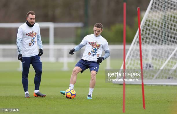 Kieran Trippier of Tottenham Hotspur trains in a Chinese New Year tshirt ahead of the north london derby during the Tottenham Hotspur training...