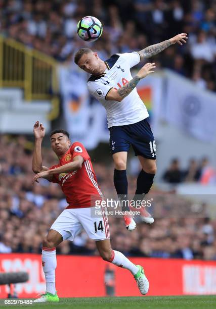 Kieran Trippier of Tottenham Hotspur wins a header as Jesse Lingard of Manchester United looks onduring the Premier League match between Tottenham...