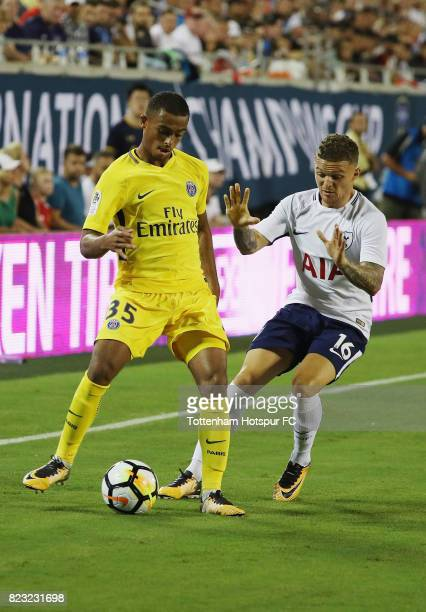 Kieran Trippier of Tottenham Hotspurs works the ball against Antoine Bernede of Paris SaintGermain during a International Champions Cup 2017 game at...